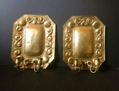 1880 Pair of Dutch Sconces Repousse Brass Two Light Wall Blaker - 754474