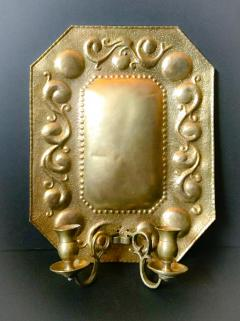 1880 Pair of Dutch Sconces Repousse Brass Two Light Wall Blaker - 754475