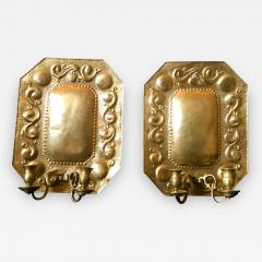 1880 Pair of Dutch Sconces Repousse Brass Two Light Wall Blaker - 754899