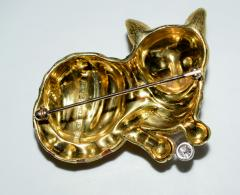 18K Enamel Diamond Cat Brooch - 1953108