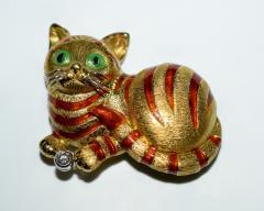 18K Enamel Diamond Cat Brooch - 1953109