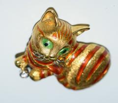 18K Enamel Diamond Cat Brooch - 1955952