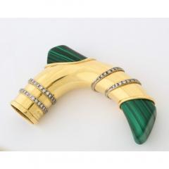 18K Gold Diamonds and Malachite Cane Walking Stick Handle by Asprey London - 1111035