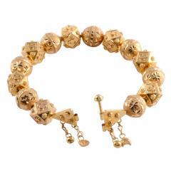 18K Gold Fancy Beaded Bangle Bracelet - 2007466