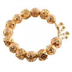 18K Gold Fancy Beaded Bangle Bracelet - 2007467