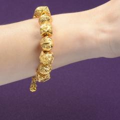 18K Gold Fancy Beaded Bangle Bracelet - 2007469