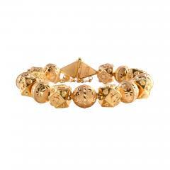 18K Gold Fancy Beaded Bangle Bracelet - 2010353