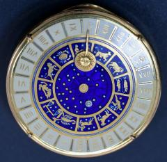 18K Gold Guilloche Enamel Astrological Pill Box - 304784