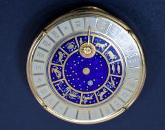 18K Gold Guilloche Enamel Astrological Pill Box - 305065