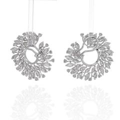 18K WHITE GOLD 13 CARATS ROUND DIAMOND OPENWORK HOOP EARRINGS - 2152986