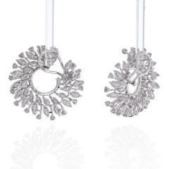 18K WHITE GOLD 13 CARATS ROUND DIAMOND OPENWORK HOOP EARRINGS - 2152987