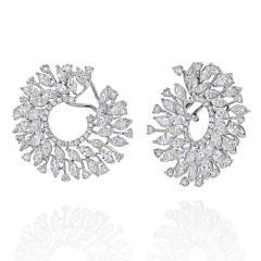 18K WHITE GOLD 13 CARATS ROUND DIAMOND OPENWORK HOOP EARRINGS - 2152988