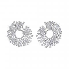 18K WHITE GOLD 13 CARATS ROUND DIAMOND OPENWORK HOOP EARRINGS - 2153824