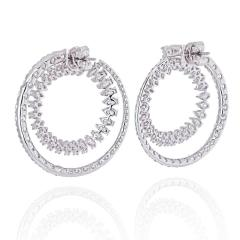 18K WHITE GOLD OPEN CIRCLE MARQUISE ROUND CUT DIAMOND HOOP EARRINGS - 2152983