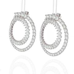18K WHITE GOLD OPEN CIRCLE MARQUISE ROUND CUT DIAMOND HOOP EARRINGS - 2152984
