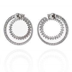 18K WHITE GOLD OPEN CIRCLE MARQUISE ROUND CUT DIAMOND HOOP EARRINGS - 2152985