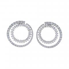 18K WHITE GOLD OPEN CIRCLE MARQUISE ROUND CUT DIAMOND HOOP EARRINGS - 2153823