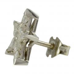 18K White Gold Star Diamond Earrings - 2007478