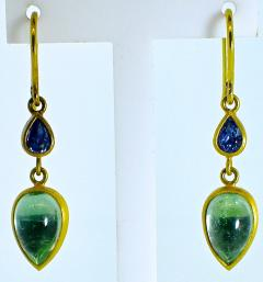 18K dangling earrings with pastel color sapphires and emeralds - 1139716