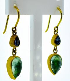 18K dangling earrings with pastel color sapphires and emeralds - 1139724