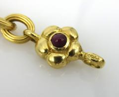 18KT YELLOW GOLD EMERALD RUBY SAPPHIRE FLOWER AND LINK BRACELET - 1089943