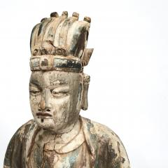 18TH CENTURY CHINESE CARVED AND PAINTED WOOD FIGURE OF A CHINESE OFFICIAL - 2009591