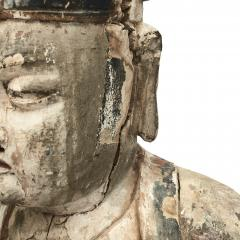 18TH CENTURY CHINESE CARVED AND PAINTED WOOD FIGURE OF A CHINESE OFFICIAL - 2009592