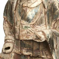 18TH CENTURY CHINESE CARVED AND PAINTED WOOD FIGURE OF A CHINESE OFFICIAL - 2009595
