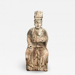18TH CENTURY CHINESE CARVED AND PAINTED WOOD FIGURE OF A CHINESE OFFICIAL - 2011137