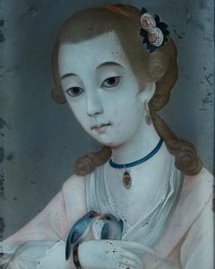 18TH CENTURY CHINESE REVERSE GLASS PAINTING OF YOUNG GIRL WITH TWO BIRDS - 2136660
