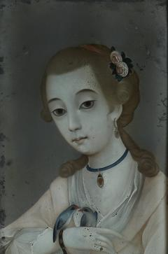18TH CENTURY CHINESE REVERSE GLASS PAINTING OF YOUNG GIRL WITH TWO BIRDS - 2136681