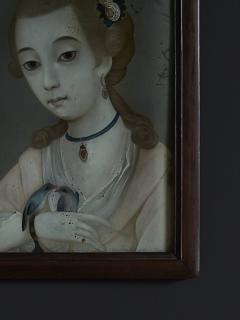 18TH CENTURY CHINESE REVERSE GLASS PAINTING OF YOUNG GIRL WITH TWO BIRDS - 2136682