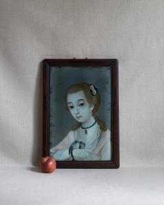 18TH CENTURY CHINESE REVERSE GLASS PAINTING OF YOUNG GIRL WITH TWO BIRDS - 2136693