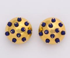18k Gold Lapis Earclips - 670643