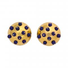 18k Gold Lapis Earclips - 672031