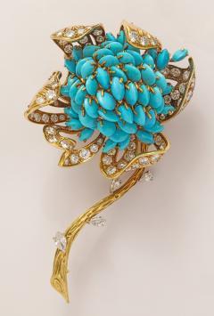 18k Gold Turquoise Diamond Brooch - 478609