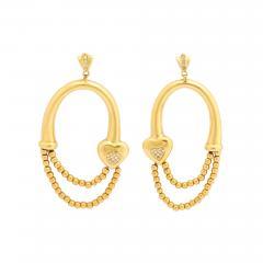 18k drop hoop earrings - 1810085
