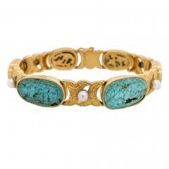 18kt Gold Pearl Carved Turquoise Engraved Bracelet - 1189798