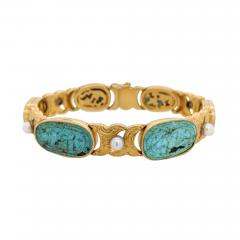 18kt Gold Pearl Carved Turquoise Engraved Bracelet - 1190021