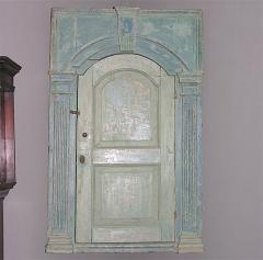 18th C English Blue Painted Corner Cupboard - 266848