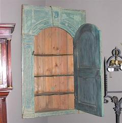 18th C English Blue Painted Corner Cupboard - 266854
