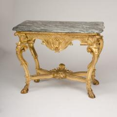 18th C Italian giltwood console table presenting a rich sculpted decoration - 1681064
