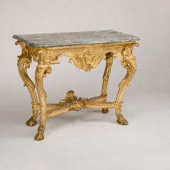 18th C Italian giltwood console table presenting a rich sculpted decoration - 1681092