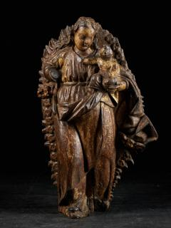 18th C Religious Spanish School Gilded Sculpture of the Virgin and Child - 2000350