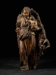 18th C Religious Spanish School Gilded Sculpture of the Virgin and Child - 2000351