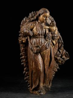 18th C Religious Spanish School Gilded Sculpture of the Virgin and Child - 2000352