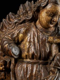 18th C Religious Spanish School Gilded Sculpture of the Virgin and Child - 2000354