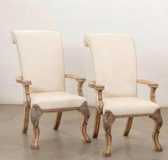 18th C Style Carved Italian Perugian Arm Chairs - 2009722