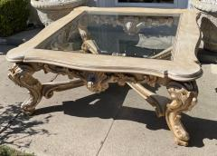 18th C Style Carved Italian Rococo Giltwood Coffee Cocktail Table - 2126545
