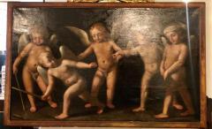 18th Century Alegorial Framed Oil on Canvas Playing Cherubs - 1248497